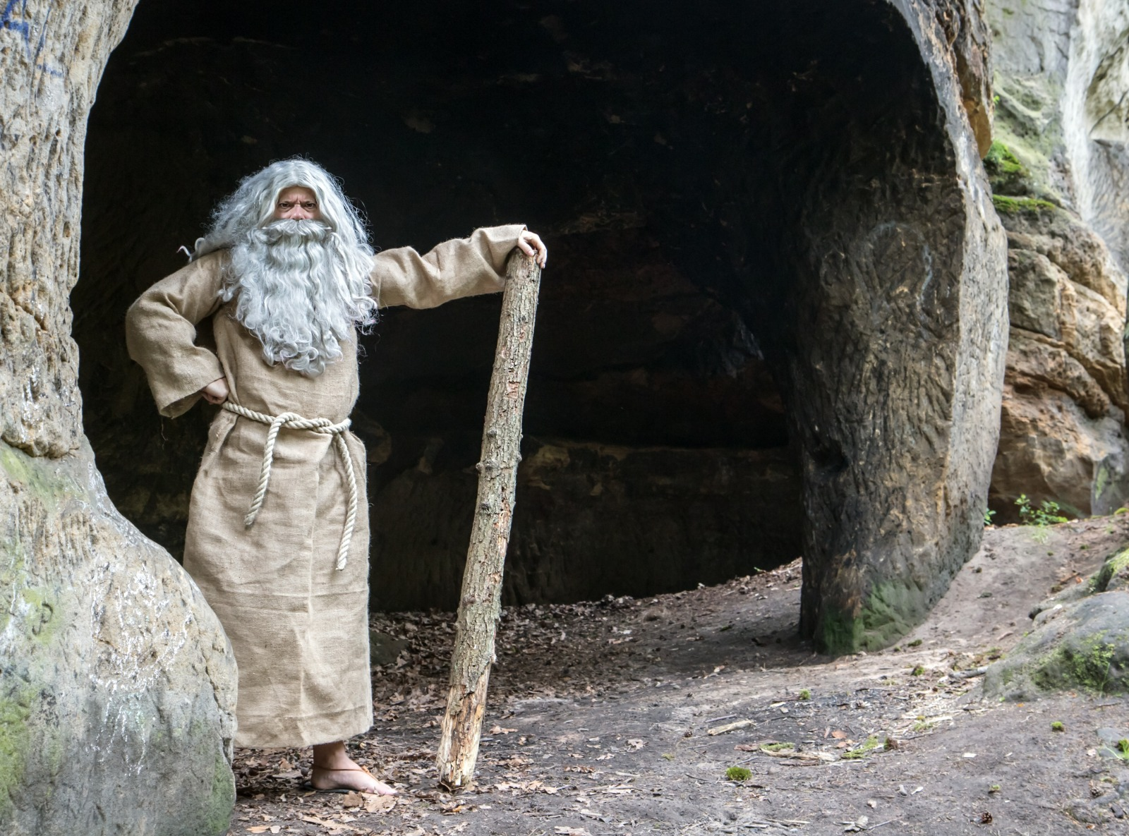 An imaginary image of a Christian hermit practicing monasticism in a cave. Although some early Christian practices of Monasticism have disappeared, the main form of Monasticism has been in the scene, represented in Christian Clergy-Celibacy,--a practice rectified  by the perfect message of Islam.